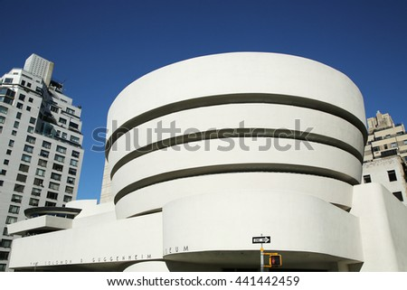 NEW YORK - JUNE 14, 2016: The Solomon R. Guggenheim Museum of modern and contemporary art in Manhattan. Designed by Frank Lloyd Wright museum opened on October 21,1959