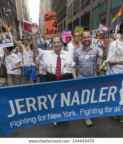 NEW YORK - JUNE 30: U.S. Representative Jerry Nadler attends annual 43rd Pride Parade on Fifth Avenue in Manhattan on June 30, 2013 in New York City - stock photo