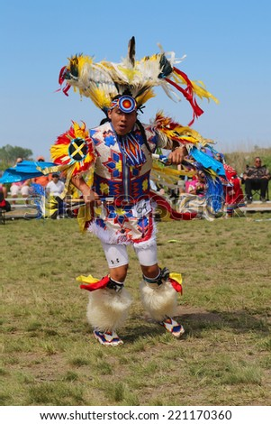 NEW YORK - JUNE 8: Unidentified Native American at the NYC Pow Wow in Brooklyn on June 8, 2014. A pow-wow is a gathering and Heritage Celebration of North America s Native people - stock photo