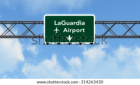 New York LaGuardia USA Airport Highway Sign 3D Illustration - stock photo