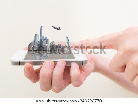 New York landmarks on a mobile phone - Creative concept of New York skyline - Woman holding a cell phone with NY on the screen - stock photo