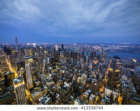 New York late sunset skyline - stock photo