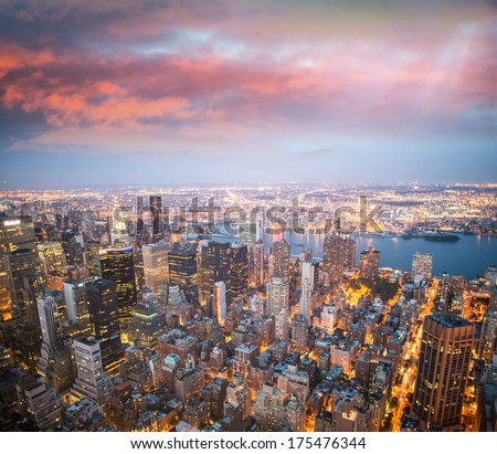 New York lights at dusk.