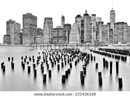 New York lower Manhattan skyline long exposure - stock photo
