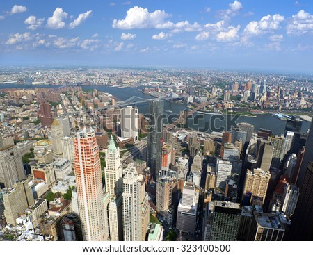 New York, Manhattan, bridges and Hudson River, aerial view - stock photo