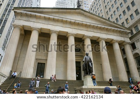 NEW YORK, MANHATTAN - JUNE 3, 2015: Popular tourist place, famous historic spot in New York is the Federal Hall with Washington Statue on the front, Manhattan, New York City. - stock photo
