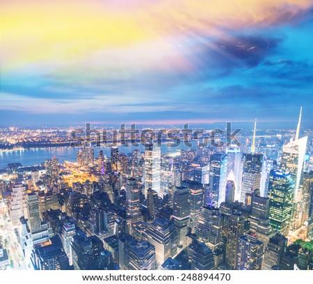 New York. Manhattan night skyline. - stock photo