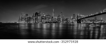 new york manhattan night view from dumbo brooklyn in b&w - stock photo