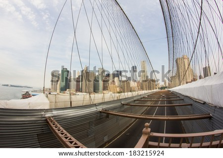 New York Manhattan skyline from the Brooklyn Bridge during reconstruction - stock photo