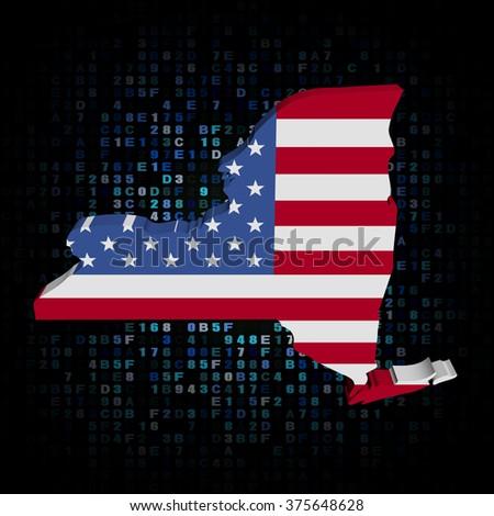 New York map flag on hex code illustration - stock photo