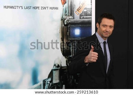 "NEW YORK-MAR 4: Actor Hugh Jackman attends the premiere of ""Chappie"" at AMC Loews Lincoln Square on March 4, 2015 in New York City. - stock photo"