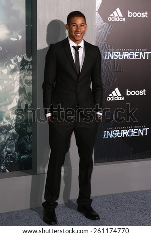 "NEW YORK-MAR 16: Actor Keiynan Lonsdale attends the U.S. premiere of ""The Divergent Series: Insurgent"" at the Ziegfeld Theatre on March 16, 2015 in New York City. - stock photo"