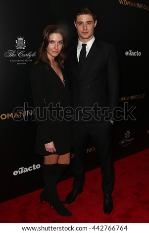 "NEW YORK-MAR 30: Actor Max Irons (R) and guest attend the ""Woman In Gold"" New York premiere, in conjuction with The Carlyle and ef+facto at the Museum of Modern Art on March 30, 2015 in New York City. - stock photo"