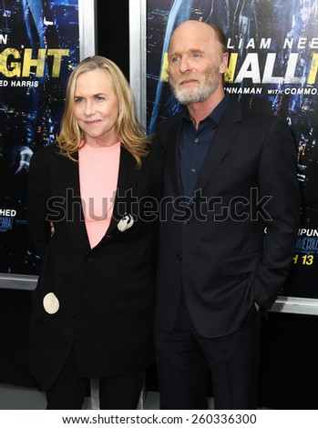 """NEW YORK-MAR 9: Actors Amy Madigan (L) and Ed Harris attend the premiere of """"Run All Night"""" at AMC Loews Lincoln Square on March 9, 2015 in New York City. - stock photo"""