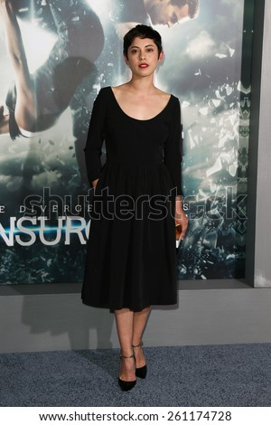 "NEW YORK-MAR 16: Actress Rosa Salazar attends the U.S. premiere of ""The Divergent Series: Insurgent"" at the Ziegfeld Theatre on March 16, 2015 in New York City. - stock photo"