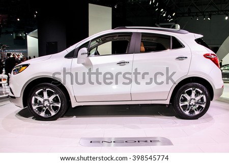 NEW YORK - MArch 23: A Buick Encore at the 2016 New York International Auto Show during Press day,  public show is running from March 25th through April 3, 2016 in New York, NY. - stock photo