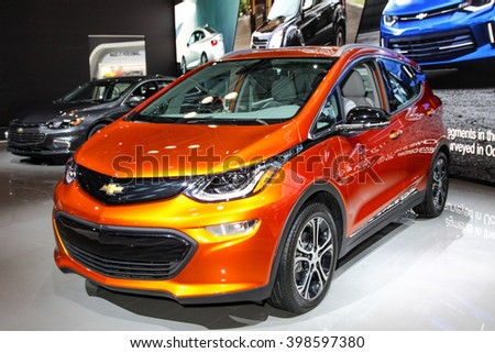 NEW YORK - MARCH 23: A Chevrolet Bolt EV at the 2016 New York International Auto Show during Press day,  public show is running from March 25th through April 3, 2016 in New York, NY. - stock photo