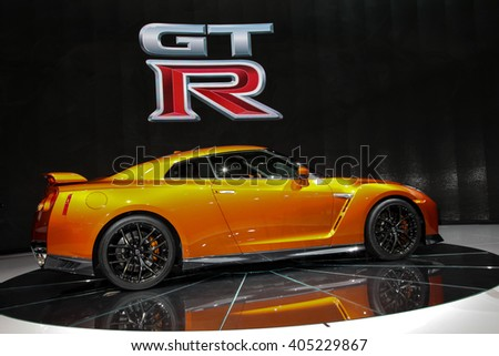 NEW YORK - March 23: A FNissan GT-R unveiled at the 2016 New York International Auto Show during Press day,  public show is running from March 25th through April 3, 2016 in New York, NY.