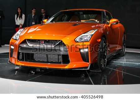 NEW YORK - March 23: A FNissan GT R unveiled at the 2016 New York International Auto Show during Press day,  public show is running from March 25th through April 3, 2016 in New York, NY. - stock photo