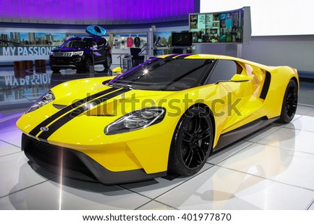 NEW YORK - March 23: A Ford GT from exhibit at the 2016 New York International Auto Show during Press day,  public show is running from March 25th through April 3, 2016 in New York, NY. - stock photo