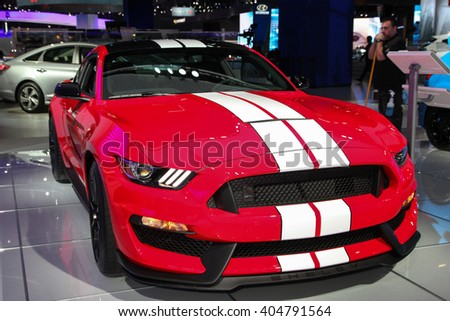 NEW YORK - MARCH 23: A Ford Shelby GT 350shown at the 2016 New York International Auto Show during Press day,  public show is running from March 25th through April 3, 2016 in New York, NY.