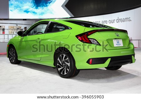 NEW YORK - March 23: A Honda Civic exhibit at the 2016 New York International Auto Show during Press day,  public show is running from March 25th through April 3, 2016 in New York, NY.