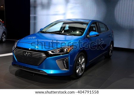 NEW YORK - MARCH 23: A Hyundai Ioniq shown at the 2016 New York International Auto Show during Press day,  public show is running from March 25th through April 3, 2016 in New York, NY. - stock photo