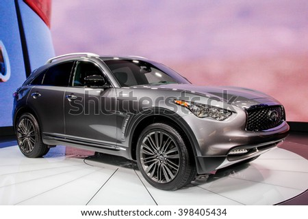 NEW YORK - March 23: A Infiniti QX70 exhibit at the 2016 New York International Auto Show during Press day,  public show is running from March 25th through April 3, 2016 in New York, NY. - stock photo