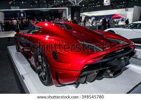 NEW YORK - MArch 23: A Koenigsegg Regera at the 2016 New York International Auto Show during Press day,  public show is running from March 25th through April 3, 2016 in New York, NY. - stock photo