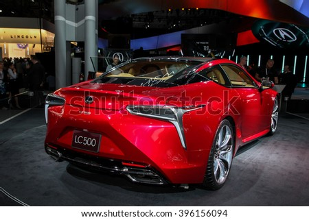 NEW YORK - March 23: A Lexus LC 500 exhibit at the 2016 New York International Auto Show during Press day,  public show is running from March 25th through April 3, 2016 in New York, NY.