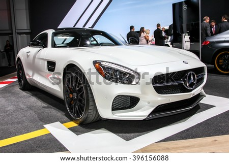 NEW YORK - March 23: A Mercedes AMG GT S exhibit at the 2016 New York International Auto Show during Press day,  public show is running from March 25th through April 3, 2016 in New York, NY.