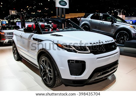 NEW YORK - March 23: A Range Rover,  Land Rover Evoque shown at the New York International Auto  Show exhibit at the 2016 New York International Auto Show during Press day in New York, NY. - stock photo