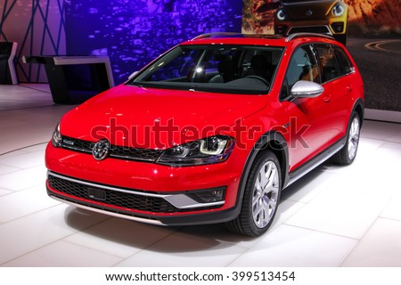 NEW YORK - MARCH 23: A Volkswagen Golf TSI at the 2016 New York International Auto Show during Press day,  public show is running from March 25th through April 3, 2016 in New York, NY. - stock photo