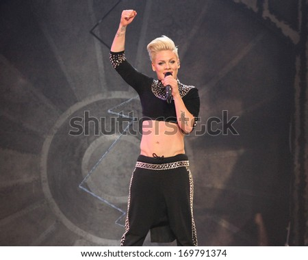 NEW YORK - MARCH 22: Alecia Moore aka as Pink performs at Madison Square Garden on March 22, 2013 in New York City. - stock photo