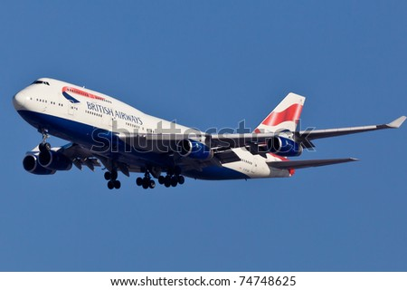 NEW YORK - MARCH 20: Boeing 747 British Airways climbs after take off from JFK in New York, USA on March 20, 2011. British Airways is one of the oldest airlines and rated top 3 biggest in Europe - stock photo