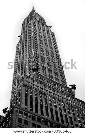 NEW YORK - MARCH 8: Chrysler building facade, pictured on on March 8, 2011 in New York, was the world's tallest building (319 m) before it was surpassed by the Empire State Building in 1931. - stock photo