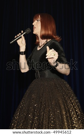 NEW YORK - MARCH 27: Comedian Miss Coco Peru performs at the 24th Annual Night of a Thousand Gowns at The Marriott Marquis in Times Square on March 27, 2010 in New York City.