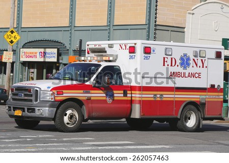 NEW YORK - MARCH 19, 2015: FDNY Ambulance in Brooklyn. FDNY is the largest combined Fire and EMS provider in the world