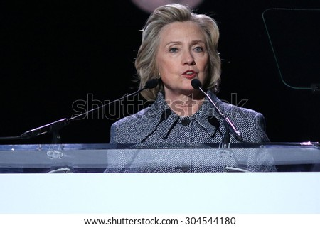 NEW YORK - March 10, 2015: Hillary Clinton speaks during the Step It Up For Gender Equality event at the Hammerstein Ballroom on March 10, 2015, in New York.  - stock photo