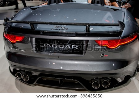 NEW YORK - MArch 23: Jaguar F Type SVR exhibit at the 2016 New York International Auto Show during Press day,  public show is running from March 25th through April 3, 2016 in New York, NY. - stock photo