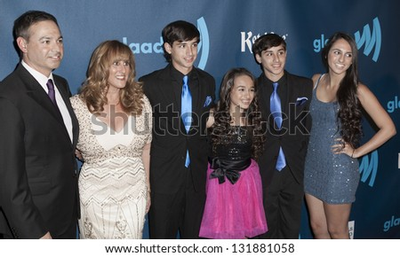 NEW YORK - MARCH 16: Jazz (3rd from right) and family attend the 24th annual GLAAD Media awards at The New York Marriott Marquis on March 16, 2013 in New York City.