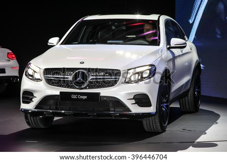 NEW YORK - March 23: Mercedes GLC Coupe3 Cabriolet exhibit at the 2016 New York International Auto Show during Press day, public show is running from March 25th through April 3, 2016 in New York, NY. - stock photo