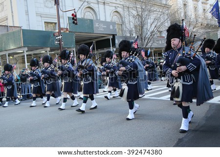 NEW YORK - MARCH 17, 2016: Police Pipes and Drums of Bergen County marching at the St. Patrick's Day Parade in New York.