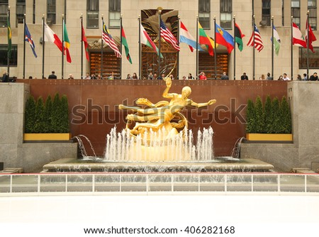 NEW YORK - MARCH 10, 2016: Statue of Prometheus at the Lower Plaza of Rockefeller Center in Midtown Manhattan  - stock photo