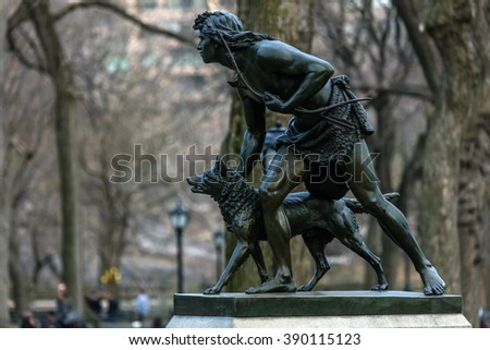 NEW YORK - MARCH 12 2016: The Indian Hunter sculpture, dedicated in 1869 was the first sculpture in Central Park created by an American artist, John Quincy Adams Ward