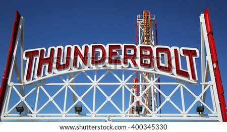 NEW YORK - MARCH 29, 2016: The Thunderbolt roller coaster at Coney Island in Brooklyn. The original Thunderbolt operated from 1920s through the early 1980s, it was reopened on June 14, 2014