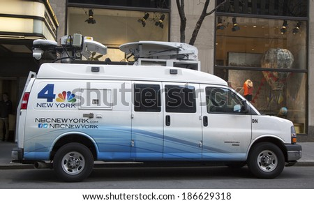 NEW YORK - MARCH 20: WNBC Channel 4 van in midtown Manhattan on March 20, 2014. WNBC is a television station located in New York City and is the flagship station of the television network  - stock photo