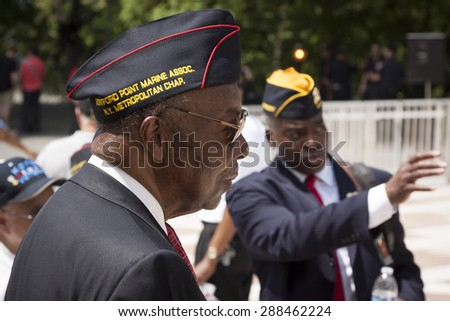 NEW YORK - MAY 25 2015: A US veteran from Montford Point Marine Assoc. attends the annual Memorial Day Observance service at the Soldiers and Sailors Monument in Manhattan during Fleet Week NY 2015. - stock photo