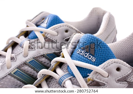 NEW YORK - May 22, 2015: Adidas running shoes - sneakers - trainers,
