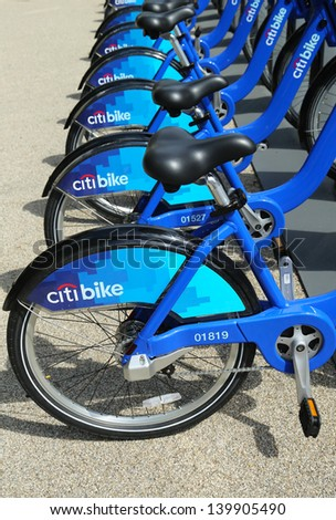 NEW YORK - MAY 26: Citi bike station ready for business in New York on May 26, 2013. NYC bike share system ready to hit the road in Manhattan and Brooklyn on May 27, 2013